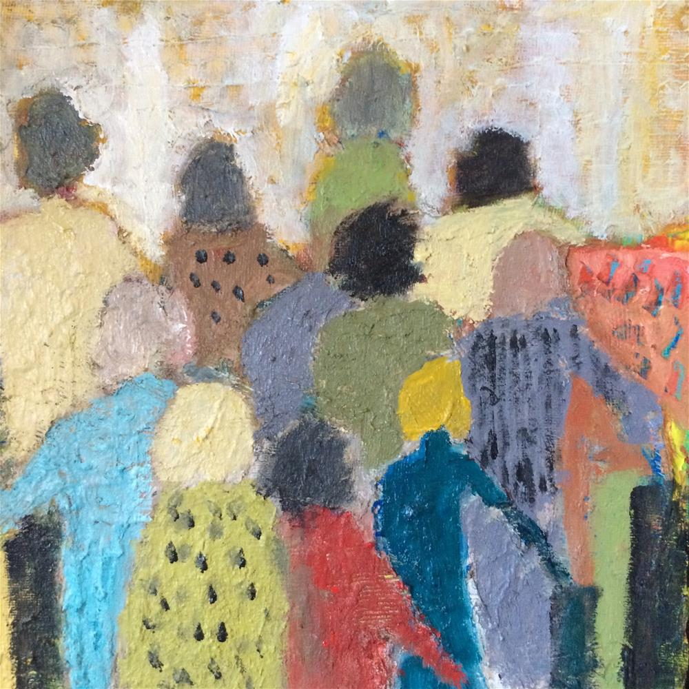 """Where is everyone going?"" original fine art by pamela kish"