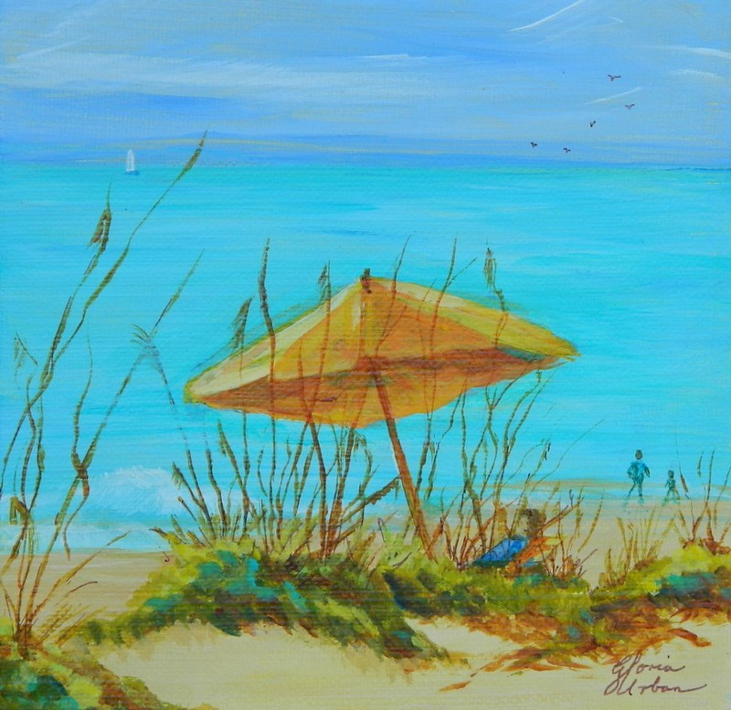"""Beach Umbrella"" original fine art by Gloria Urban"