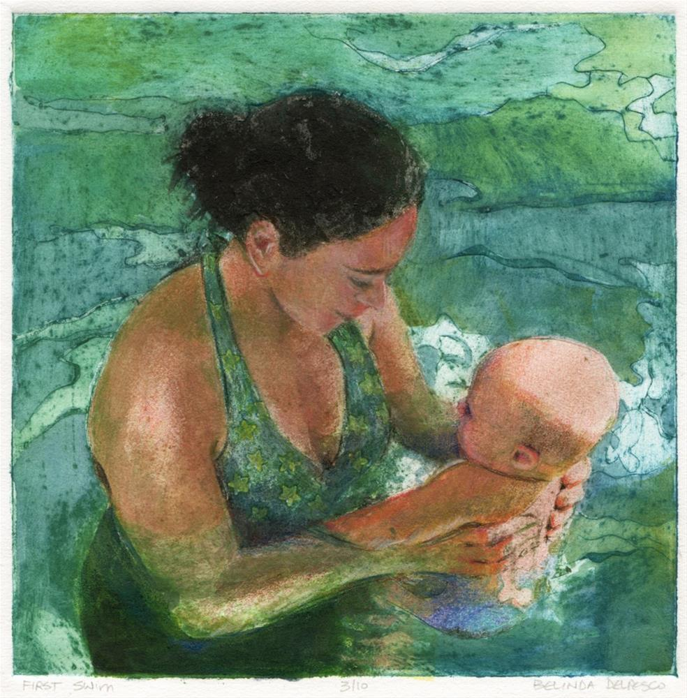 """Collagraph: First Swim"" original fine art by Belinda Del Pesco"