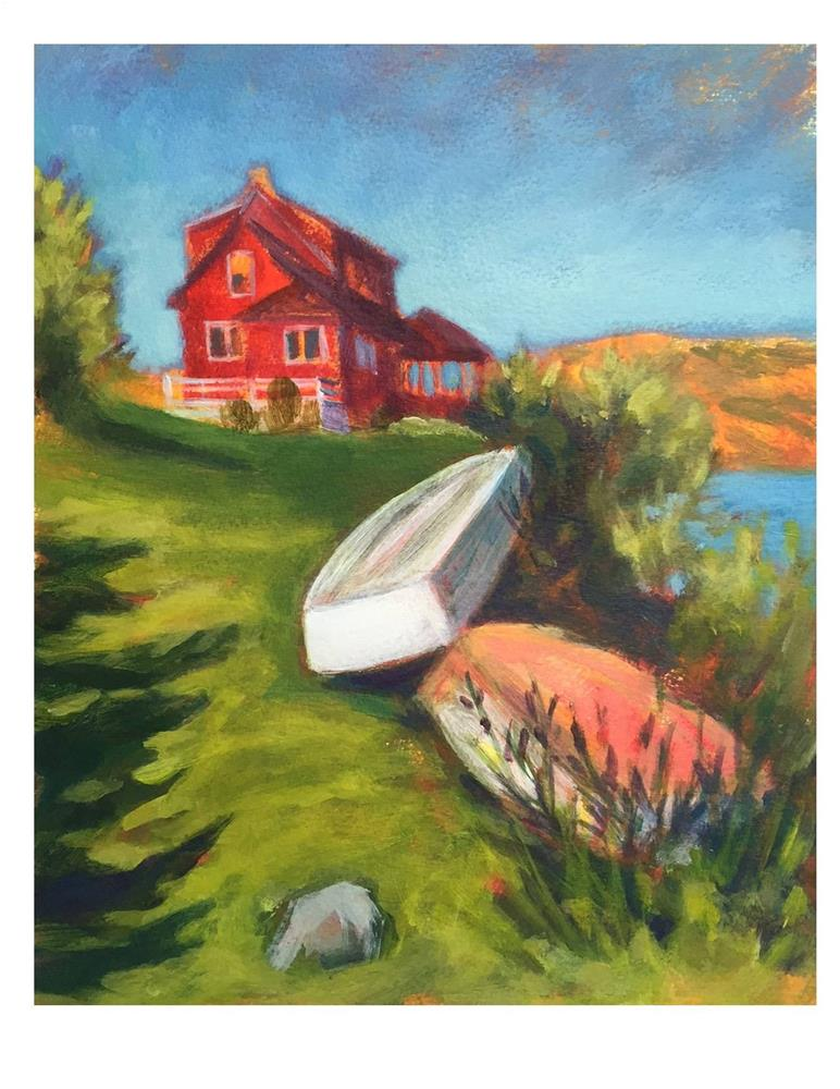 """Red House and Dinghys"" original fine art by Suzanne Woodward"