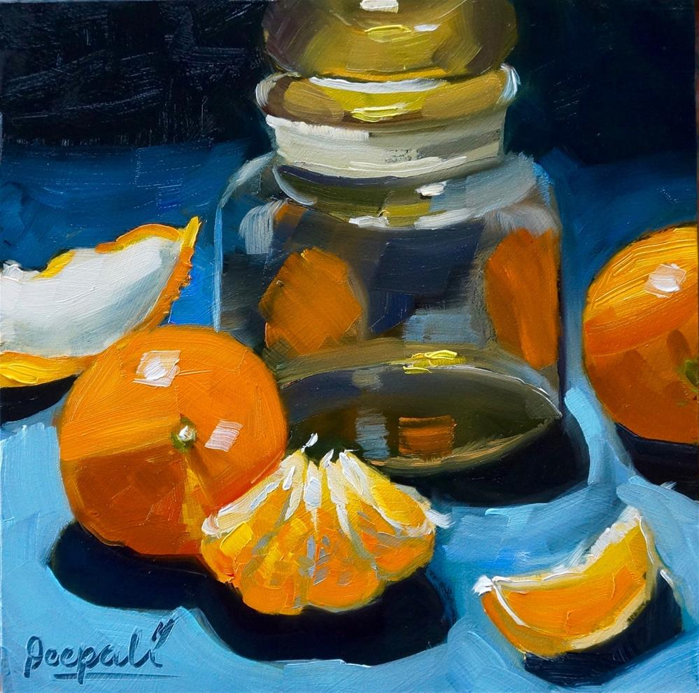 """Oranges and jar"" original fine art by Dipali Rabadiya"