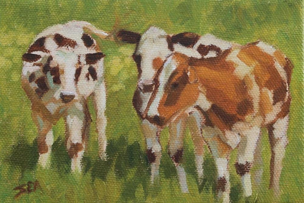 """More Cows II"" original fine art by Susan Ashmore"