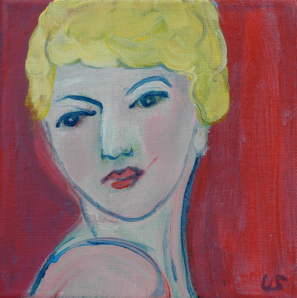 """Face, blond hair, red background"" original fine art by Ulrike Schmidt"