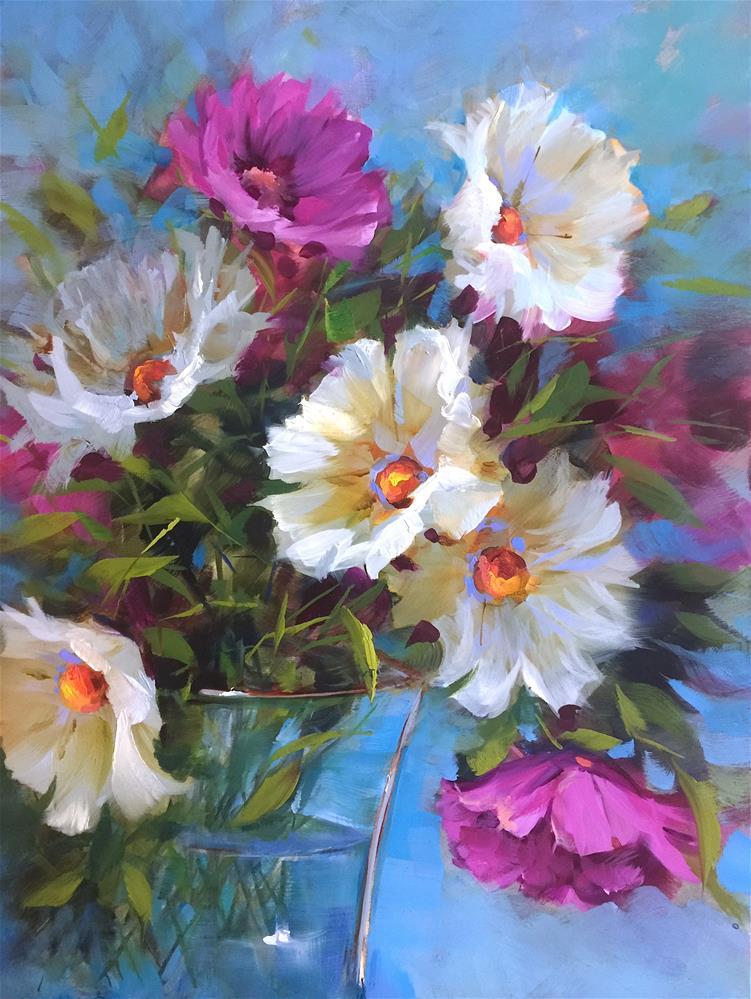 """Open Sky French Daisies"" original fine art by Nancy Medina"