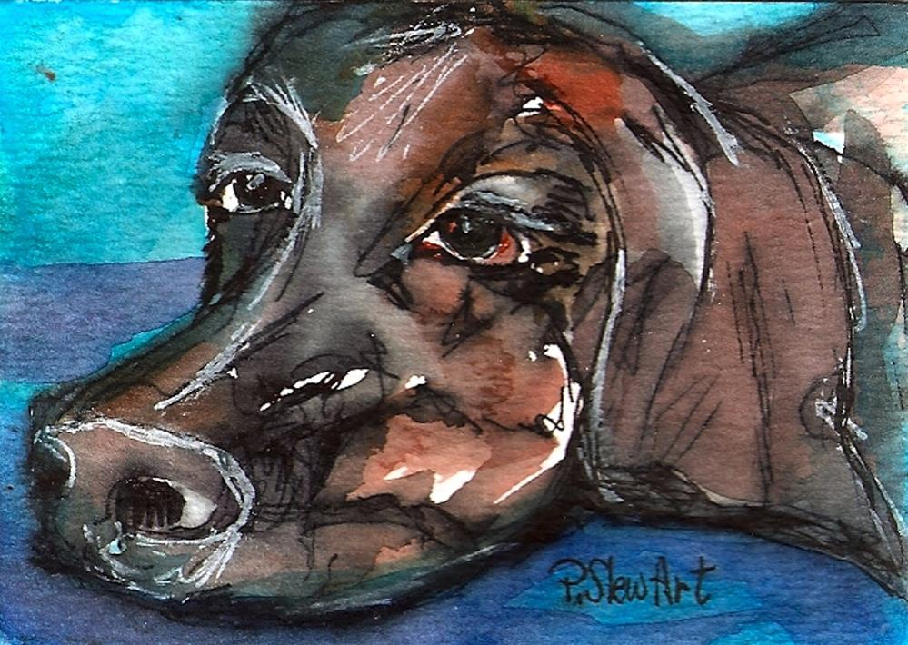 """ACEO Waiting for Mom Lonesome Dog Pet Portrait, WC & Pen Orig by Penny StewArt"" original fine art by Penny Lee StewArt"