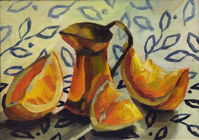 """Copper, Oranges and Leaves"" original fine art by J M Needham"