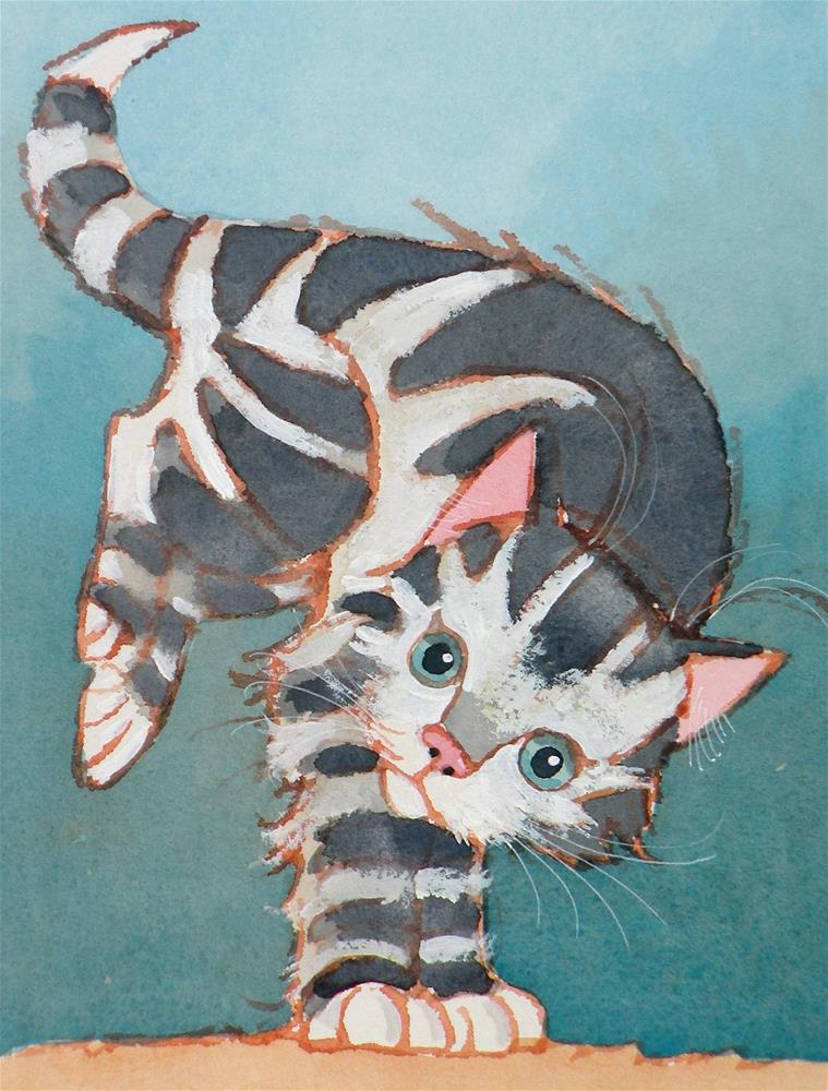 """Kitten Kapers"" original fine art by Toni Goffe"