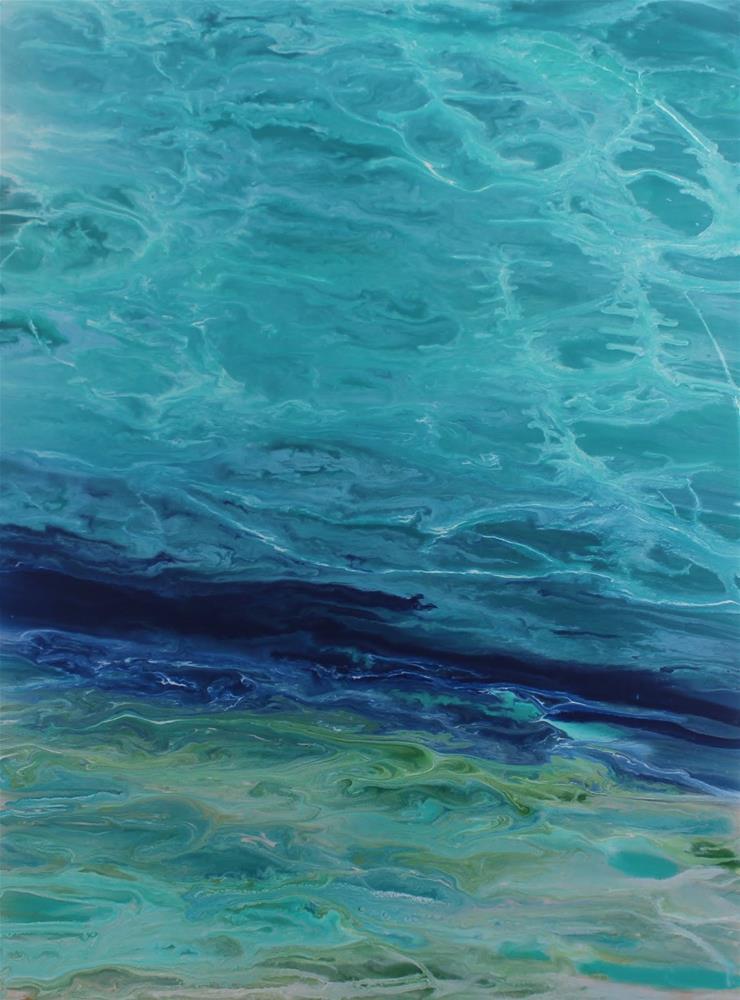 """Original Contemporary Abstract Seascape Beach Painting,Coastal Decor Art Tropical Wave IV by Color"" original fine art by Kimberly Conrad"