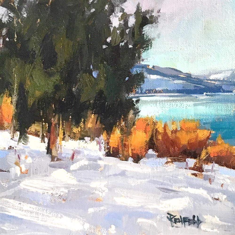 """Tranquil Columbia River Snow"" original fine art by Cathleen Rehfeld"