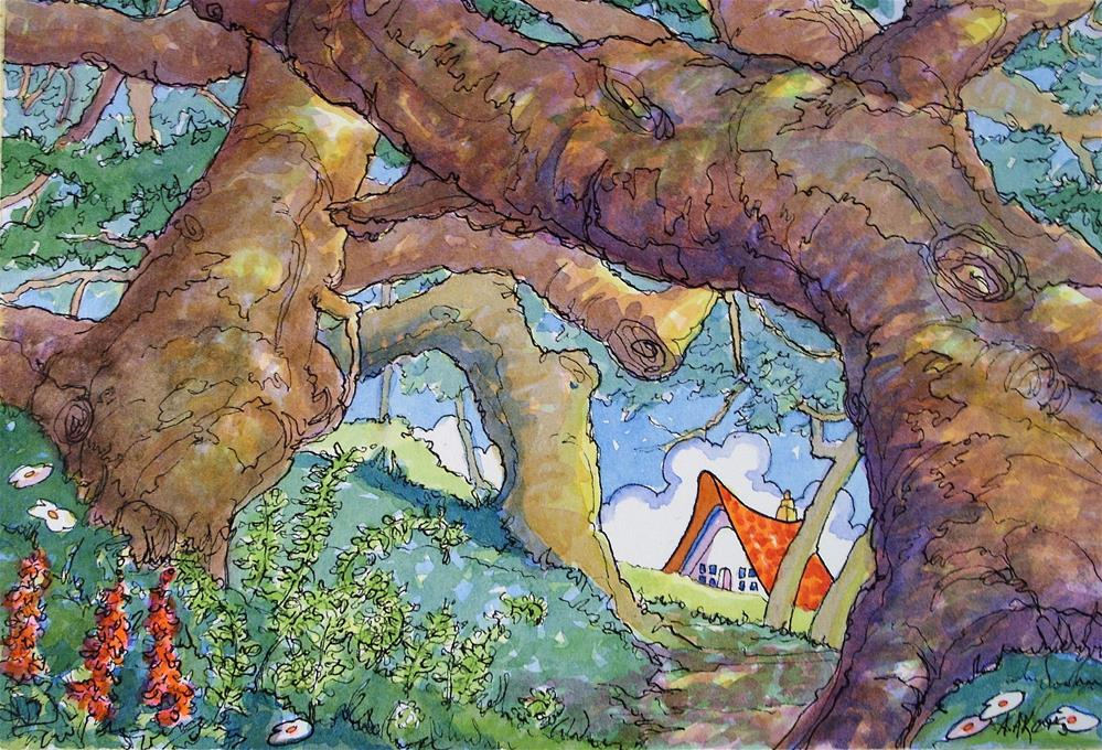 """Path by the Old Oaks Storybook Cottage Series"" original fine art by Alida Akers"