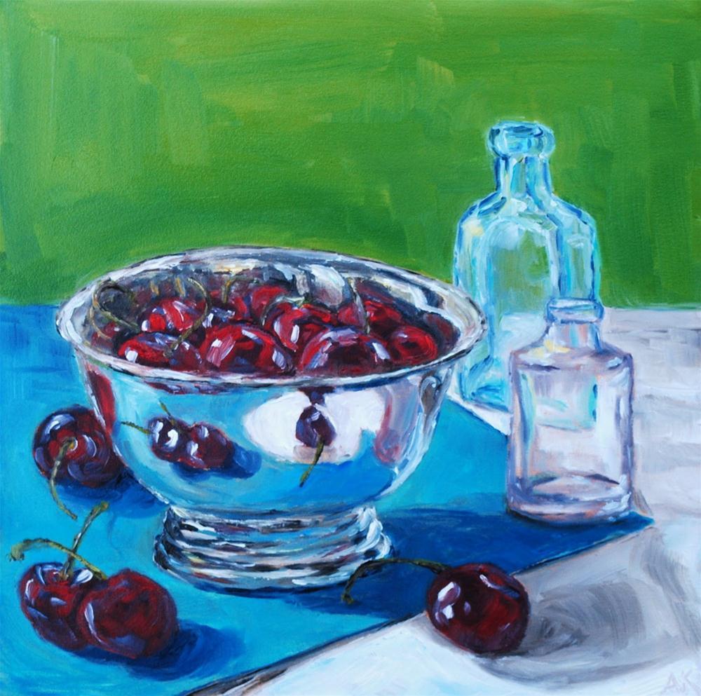 """Bowl of Cherries"" original fine art by Alison Kolkebeck"