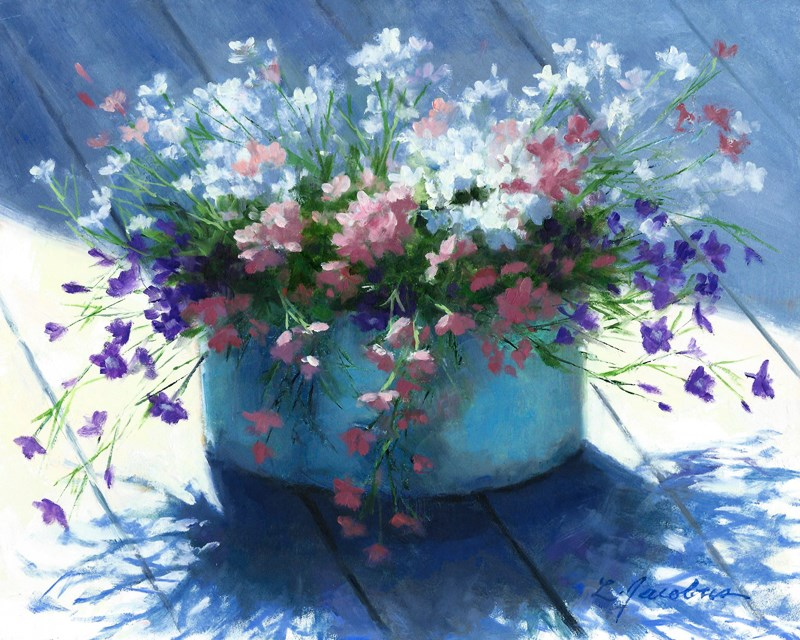 """Lobelia Basking"" original fine art by Linda Jacobus"