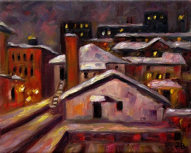 """Winter Night оver Ann Arbor"" original fine art by Irina Beskina"