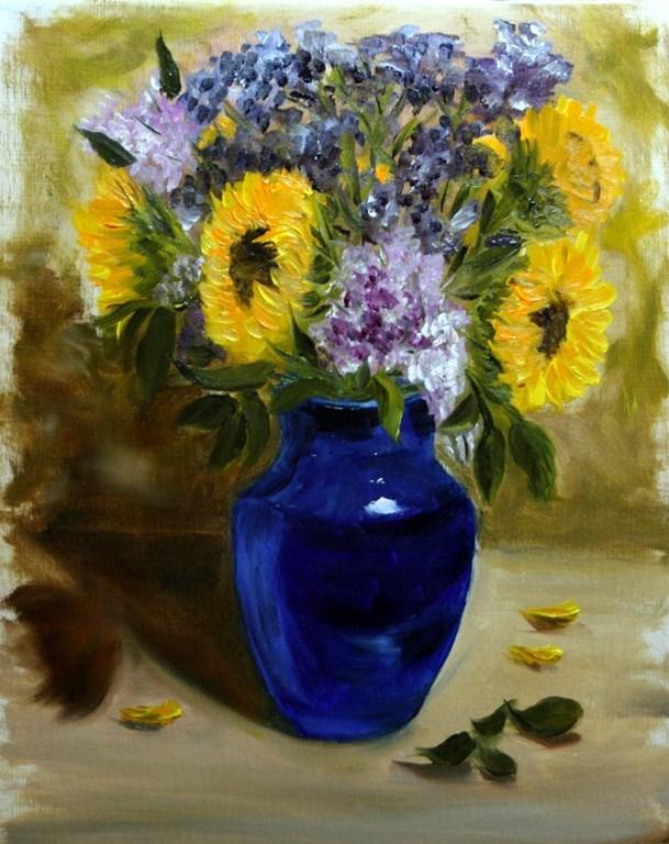 """Sunflowers in Blue Vase"" original fine art by Mary Datum"