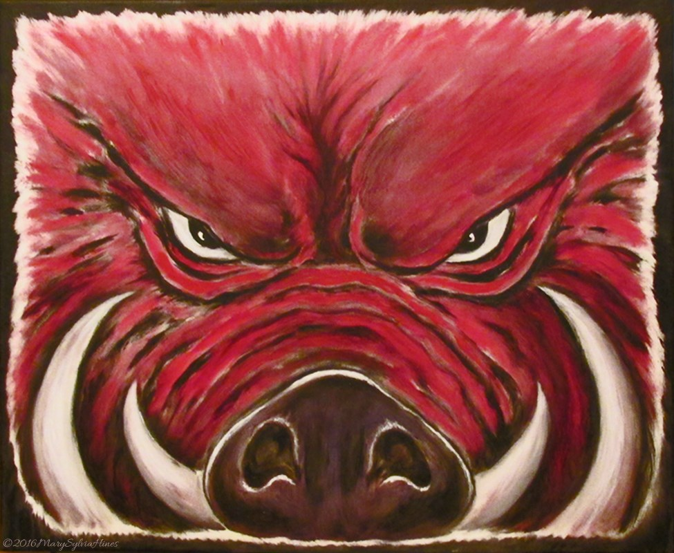 """Razorback 11"" original fine art by Mary Sylvia Hines"
