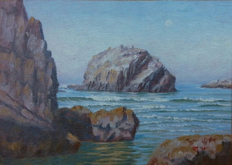 """C1569 Morning & Rising Tide (Face Rock from Cathedal Rock, Bandon, Oregon Coast)"" original fine art by Steven Thor Johanneson"