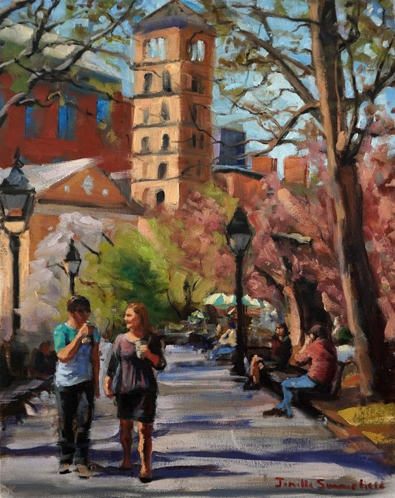 """April in Washington Square Park"" original fine art by Jonelle Summerfield"