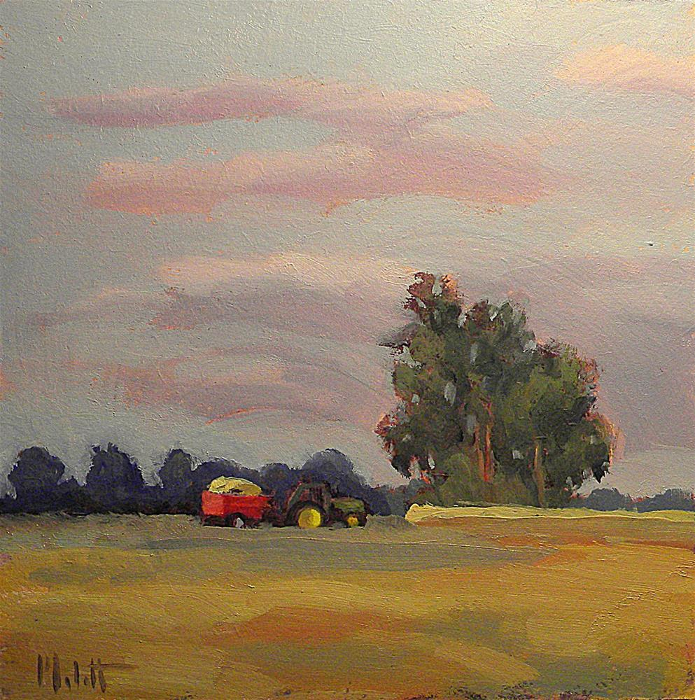 """John Deere Tractor Corn Harvest Midwest Landscape Oil Painting"" original fine art by Heidi Malott"