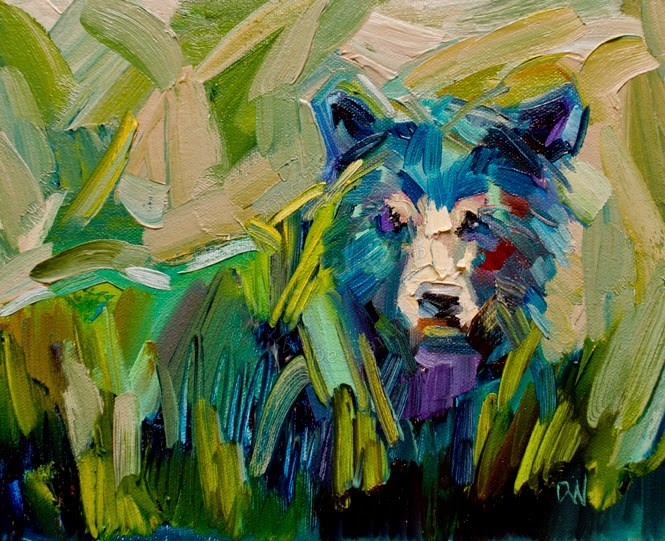 """ARTOUTWEST DIANE Whitehead fine art oil painting bear animal art original"" original fine art by Diane Whitehead"