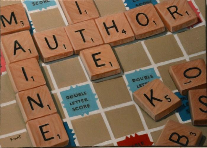 """Maine Author Scrabble Painting"" original fine art by Kim Testone"
