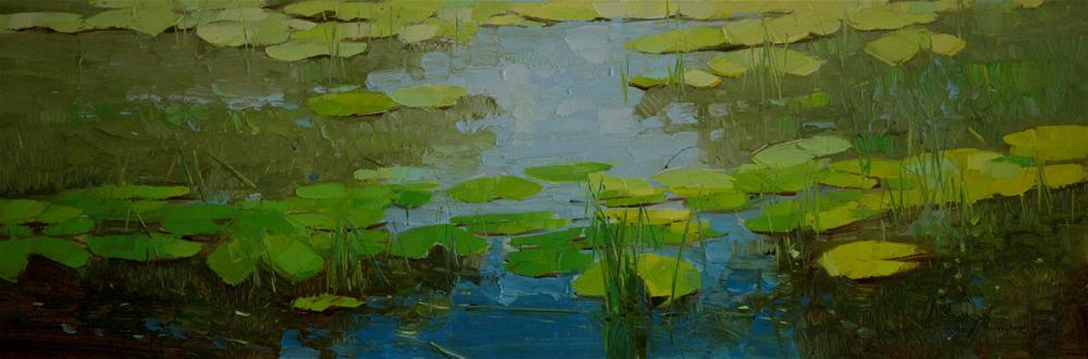 """""""Cobalt Pond Original Large oil Painting on Canvas One of a kind"""" original fine art by V Y"""