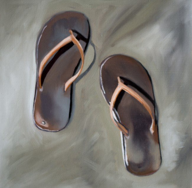 """Sandals on the Beach"" original fine art by Lauren Pretorius"