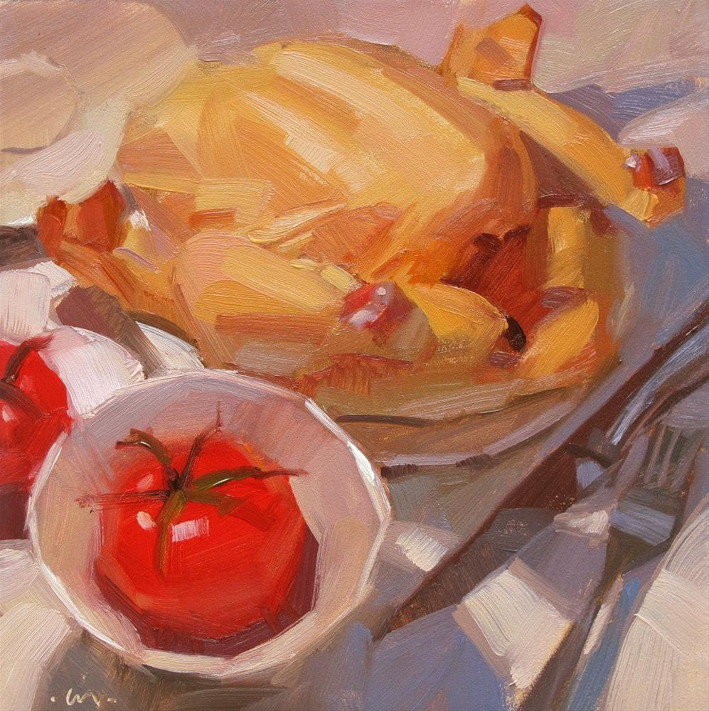 """Chicken for Dinner"" original fine art by Carol Marine"