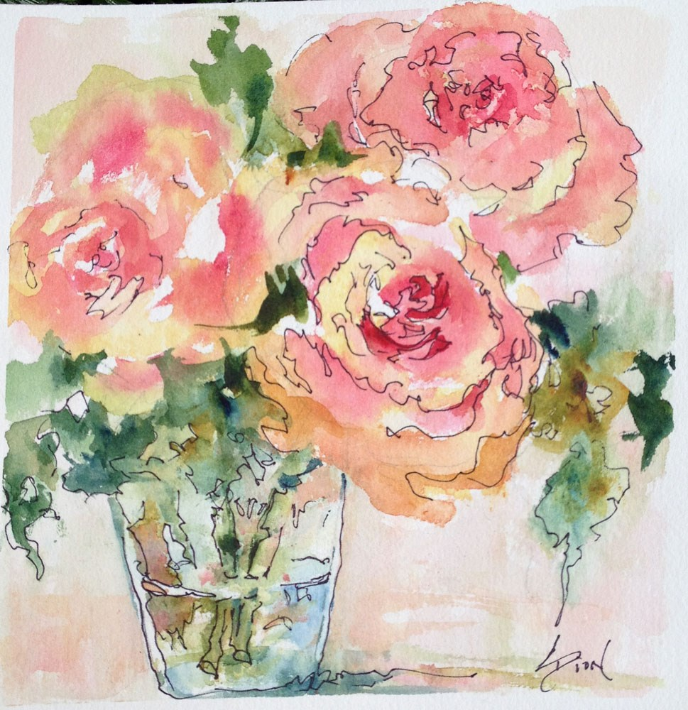 """There were Roses"" original fine art by Sue Dion"