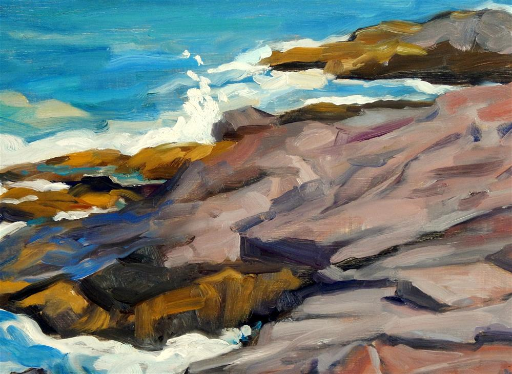 """Rocks and Water, Monhegan Maine"" original fine art by Thor Wickstrom"