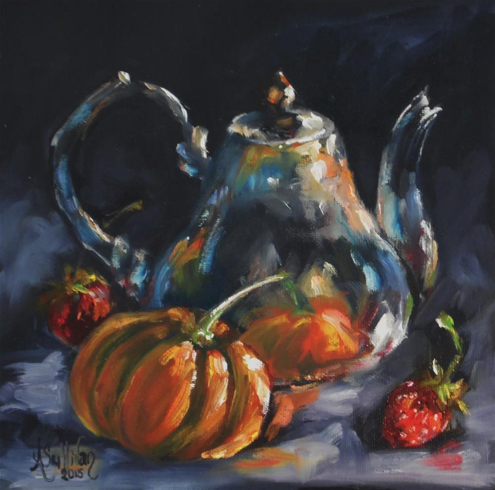 """""""Pumpkin Party oil painting by Alabama Artist Angela Sullivan"""" original fine art by Angela Sullivan"""