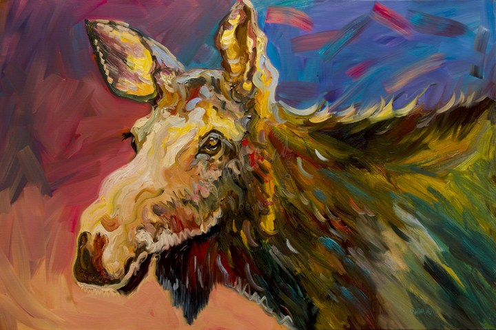 """ARTOUTWEST Diane Whitehead Wild Moose Wildlife"" original fine art by Diane Whitehead"
