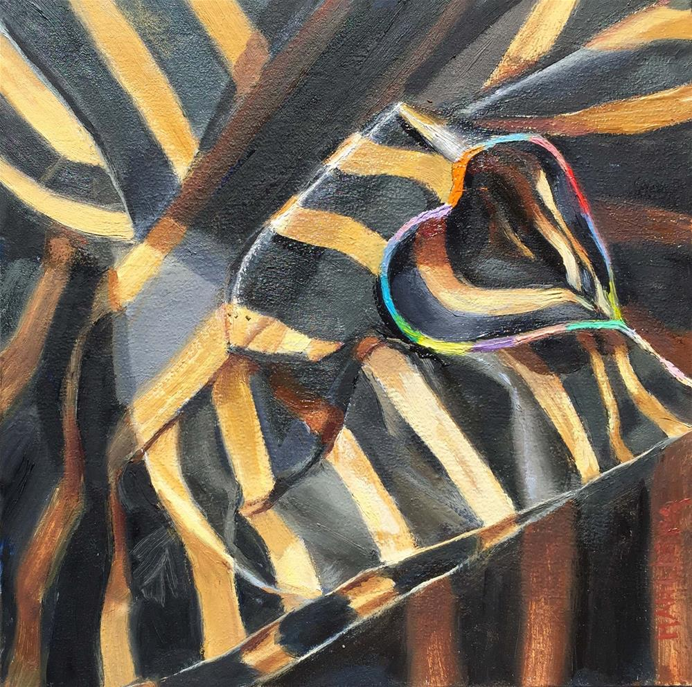 """""""Paper Stripes in Black and Beige"""" original fine art by Cynthia Mahlberg"""