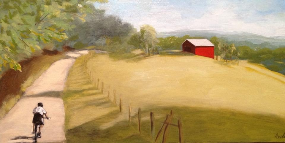 """Country Cycling - landscape oil painting"" original fine art by Linda Apple"