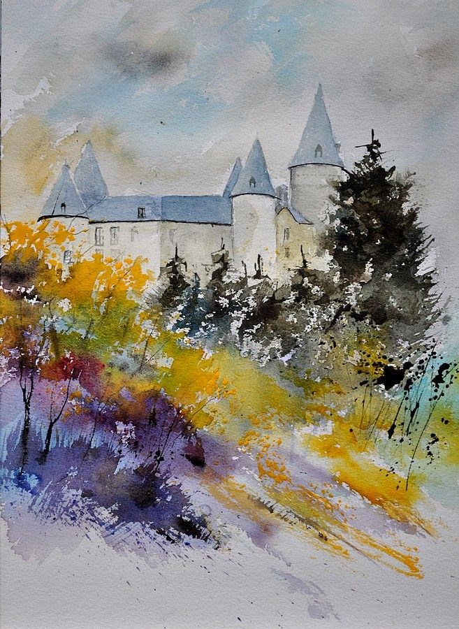 """Castle of Veves Watercolor"" original fine art by Pol Ledent"