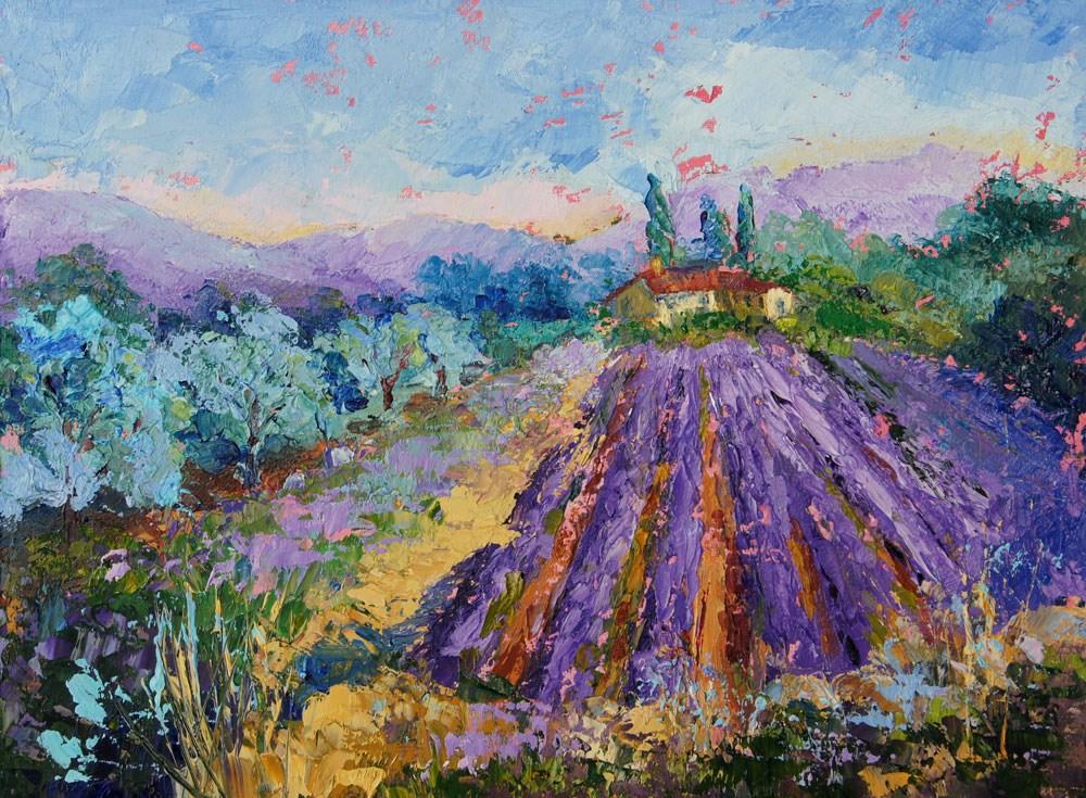 """""""Lavender and Olives, Impressionist Provence Landscape by Marion Hedger"""" original fine art by Marion Hedger"""