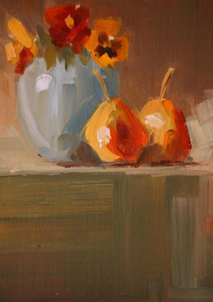 """forelle pears and pansies"" original fine art by Carol Carmichael"