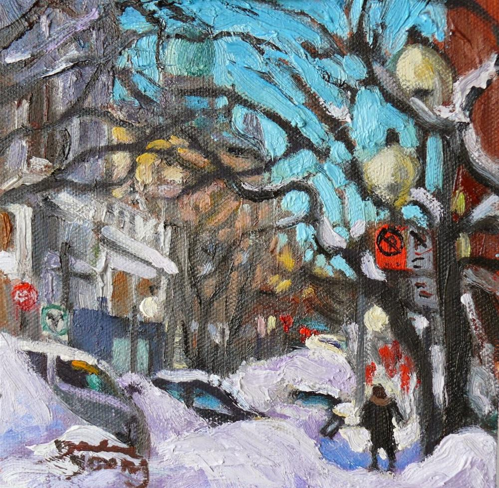 """810 Montreal Winter Scene, Shovelling, 6x6, oil"" original fine art by Darlene Young"