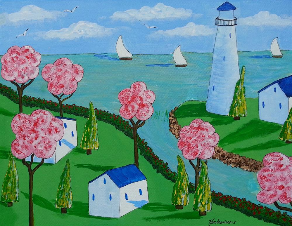 """Lighthouse and Cottages"" original fine art by Karleen Kareem"