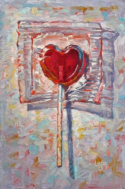"""Lollipop Heart #2"" original fine art by Raymond Logan"