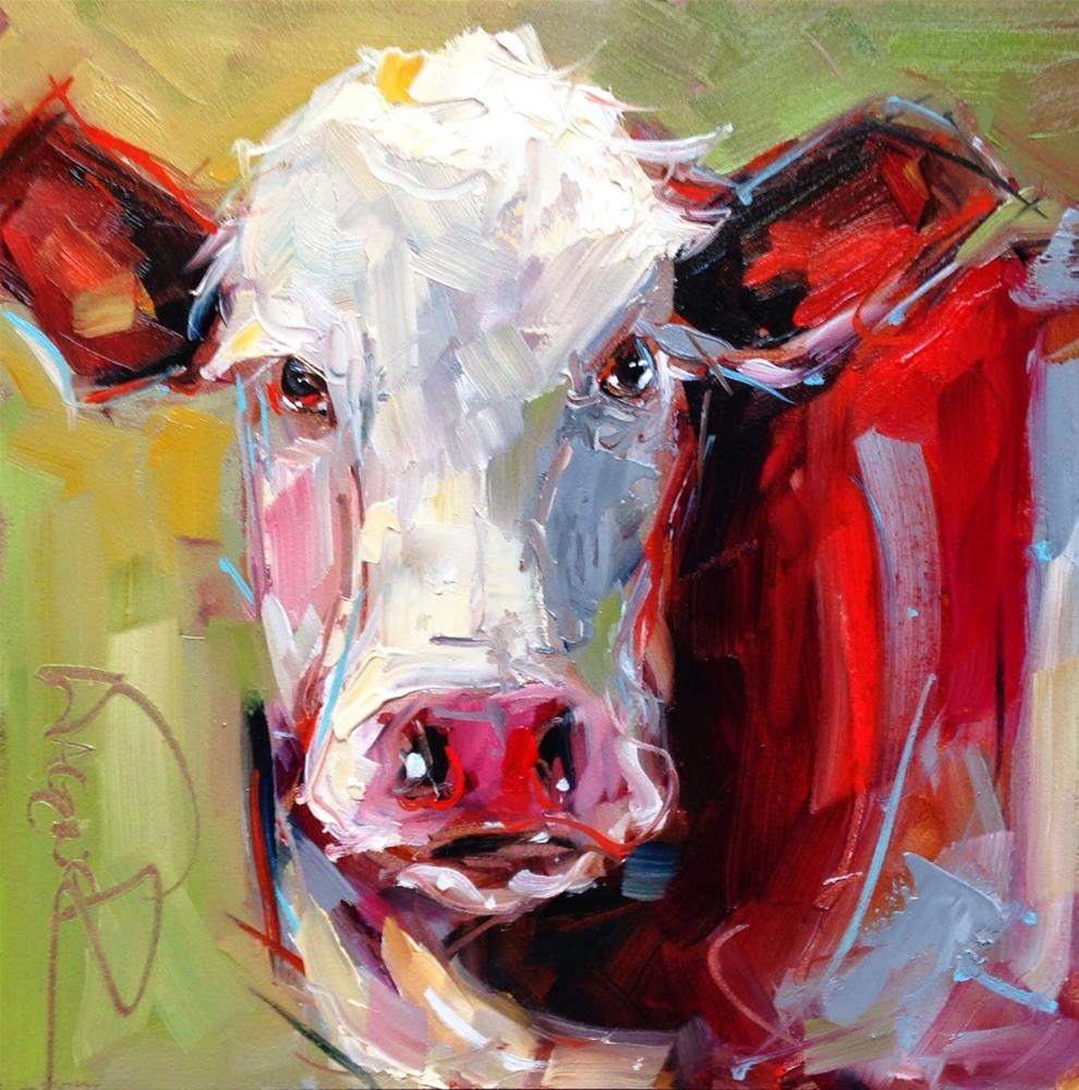 """CONTEMPORARY ABSTRACT COW in OILS by OLGA WAGNER"" original fine art by Olga Wagner"
