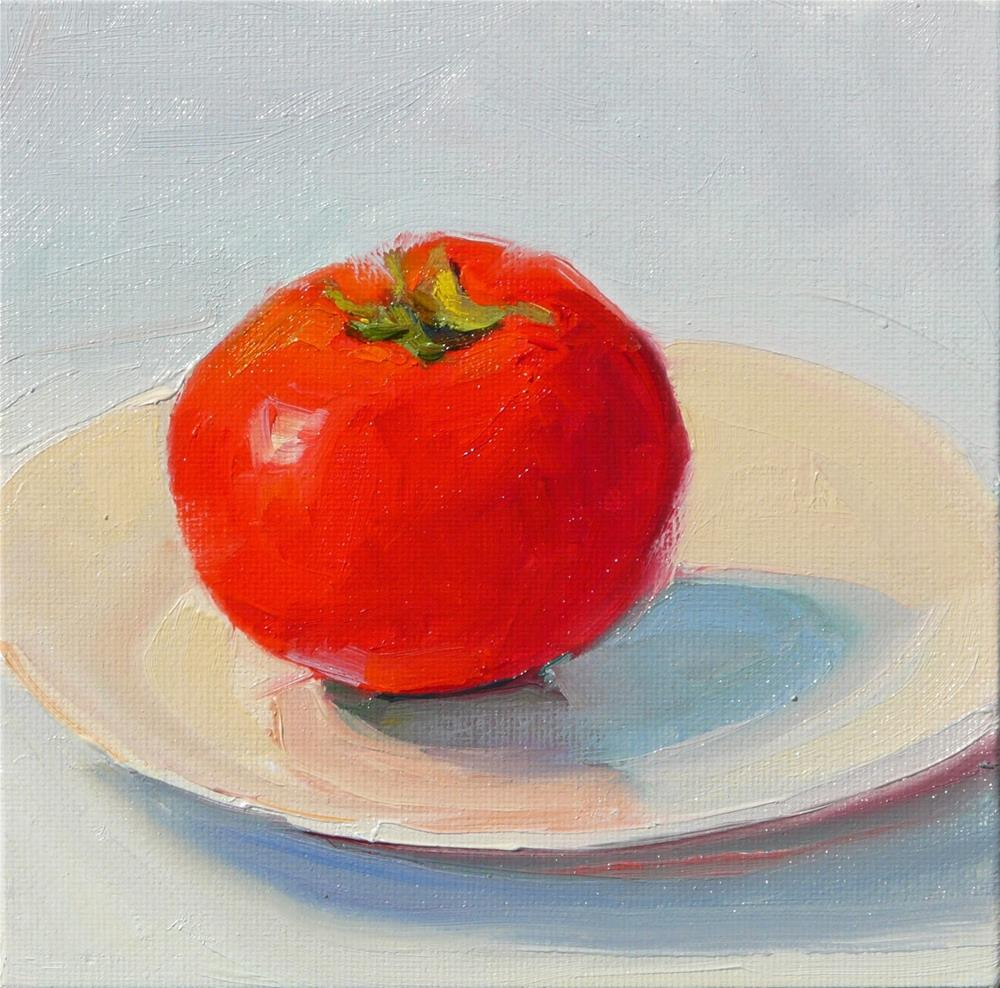 """Tomato Fresh off the Vine,still life,oil on canvas,6x6,price$200"" original fine art by Joy Olney"