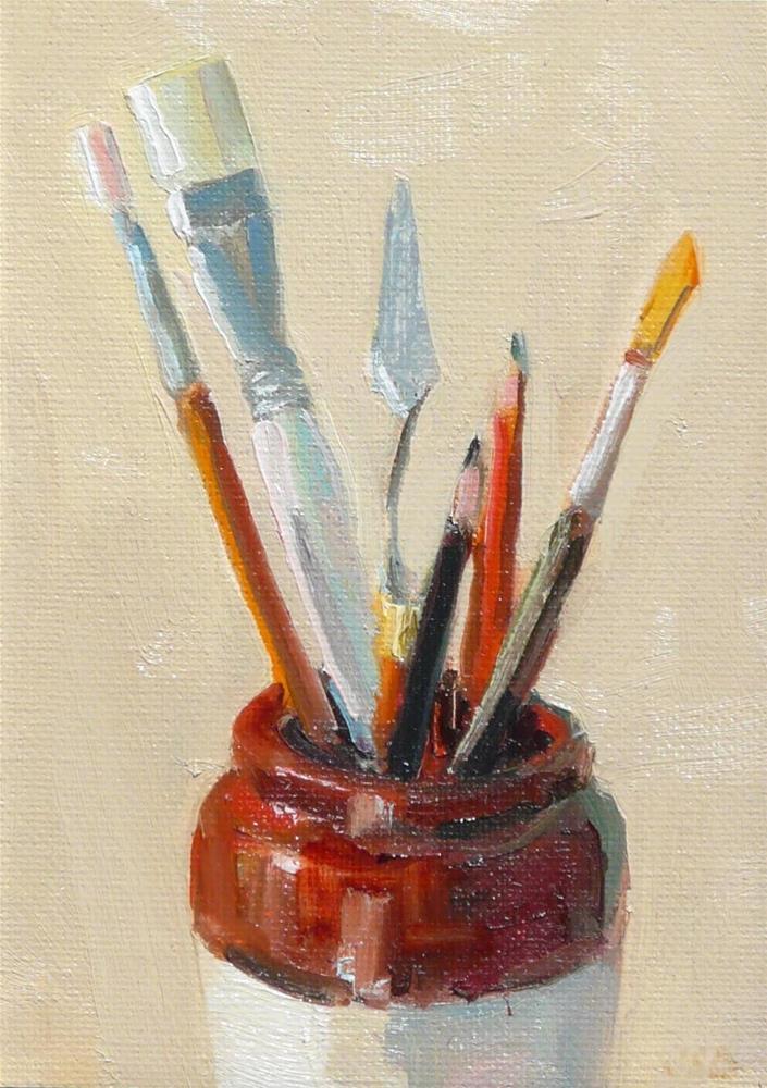 """""""Jug Full,still life,oil on canvas,7x5,price$200"""" original fine art by Joy Olney"""