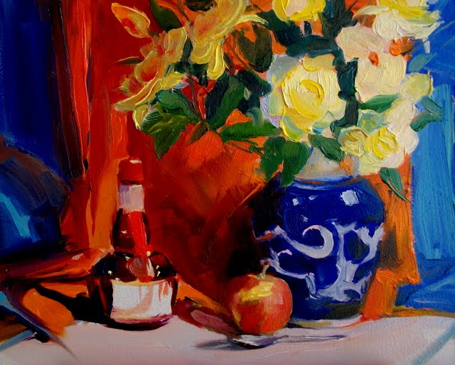 """Grand Marnier and Yellow Flowers  oil still life painting"" original fine art by Robin Weiss"