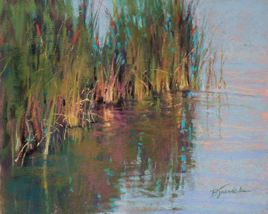 """Cattails"" original fine art by Barbara Jaenicke"