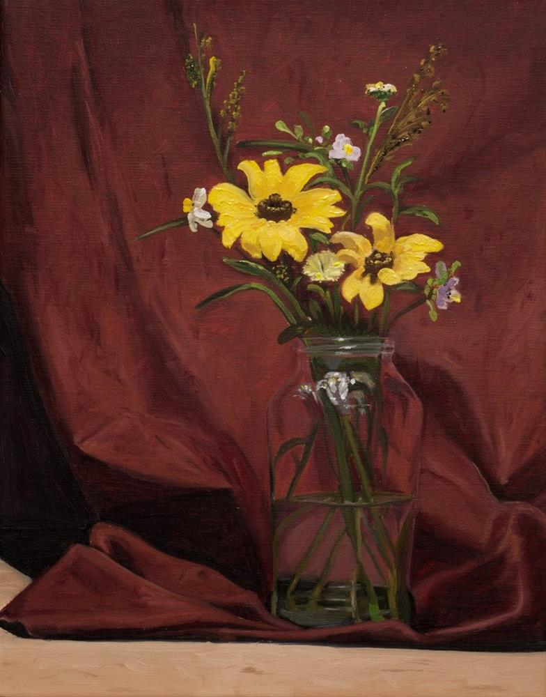 """Wildflowers on burgundy background"" original fine art by Tim Gier"