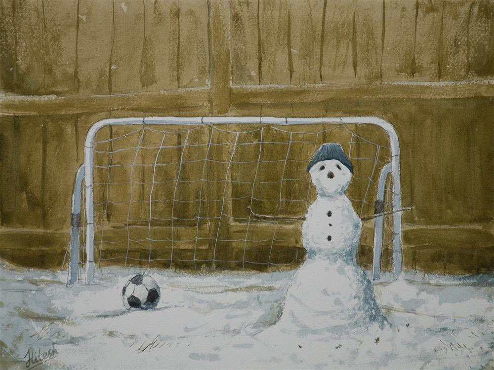 """The Goalkeeper"" original fine art by Tesh Parekh"