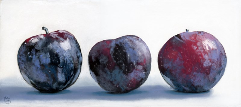 """Plums in a Row painting"" original fine art by Ria Hills"