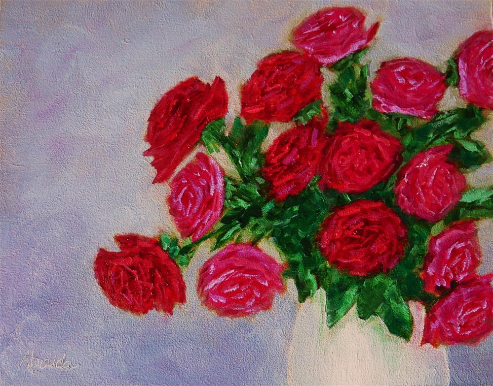 """Red and Pink Roses"" original fine art by Sandy Abouda"