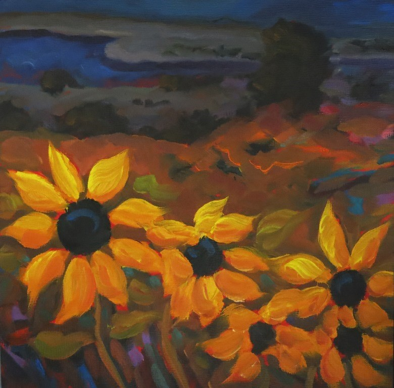 """#136  TAOS SUNFLOWERS"" original fine art by Dee Sanchez"