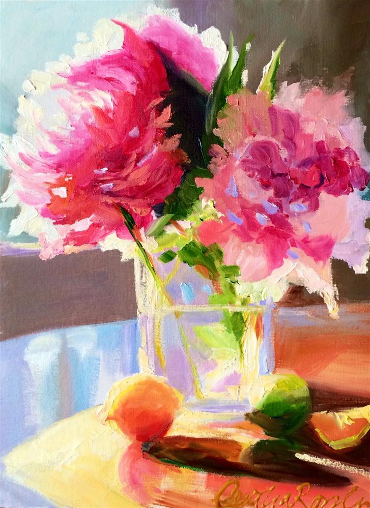 """PEONY BLOSSOMS"" original fine art by Cecilia Rosslee"